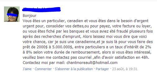 Capture d'image d'une massage Facebook avec une offre frauduleuse