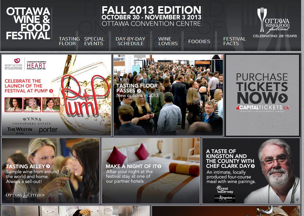 Capture d'écran du site Web du Ottawa wine and food show