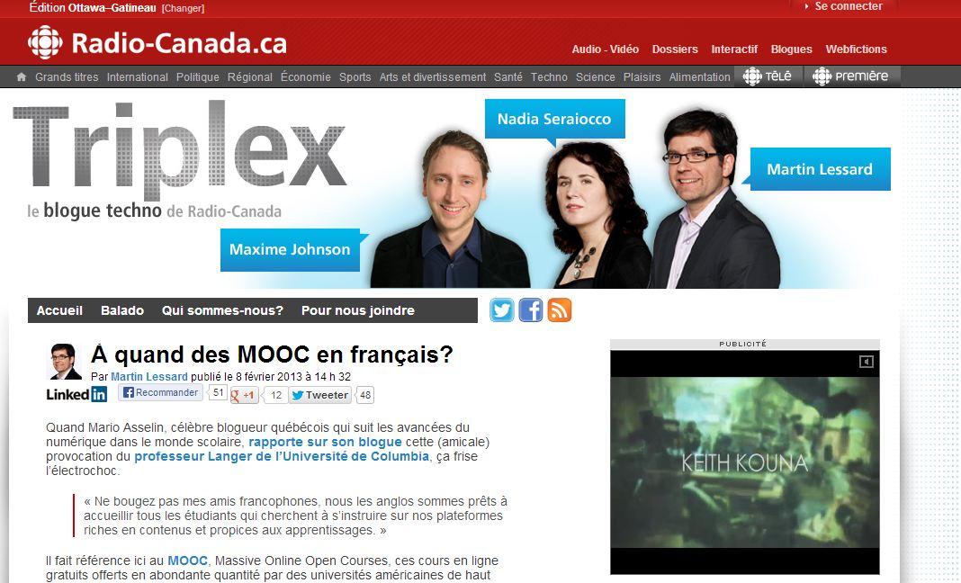 À quand des MOOC en français? saisi d'écran du site Internet de Raqdio-Canada