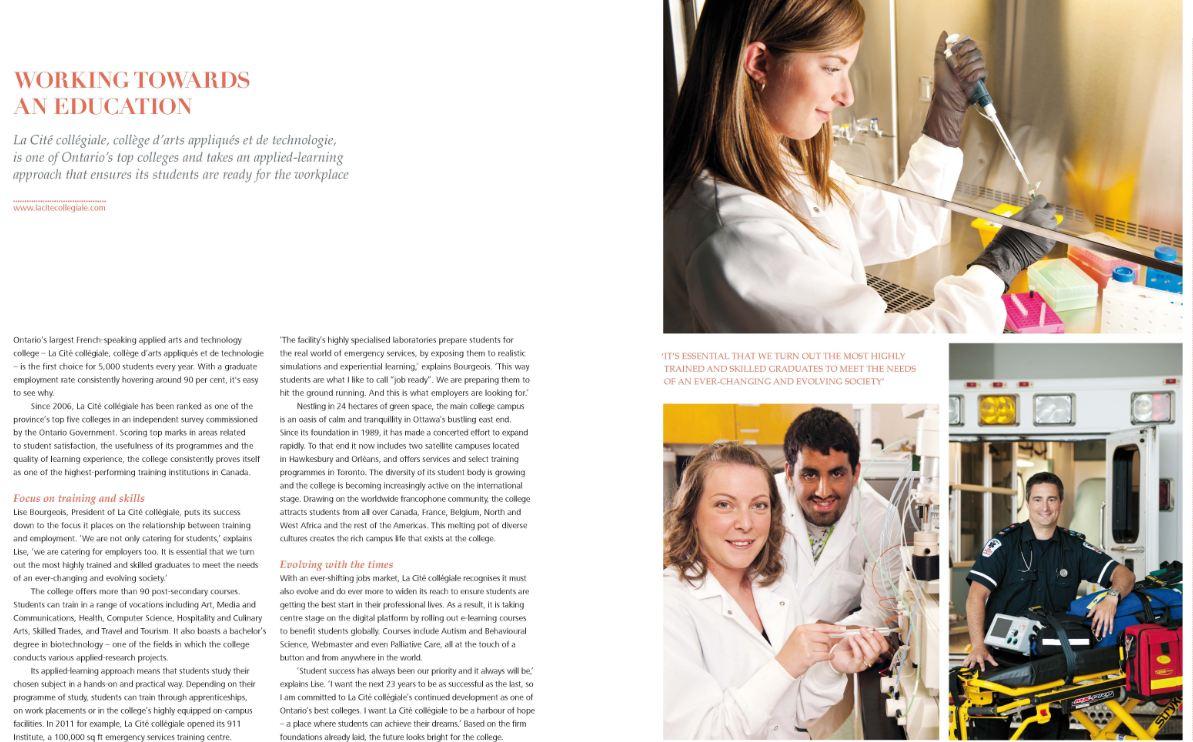 Article avec titre : Working towards an education. image d'une étudiante manipulant une éprouvette et d'un étudiant en soins paramédicaux avec un civière d'urgence
