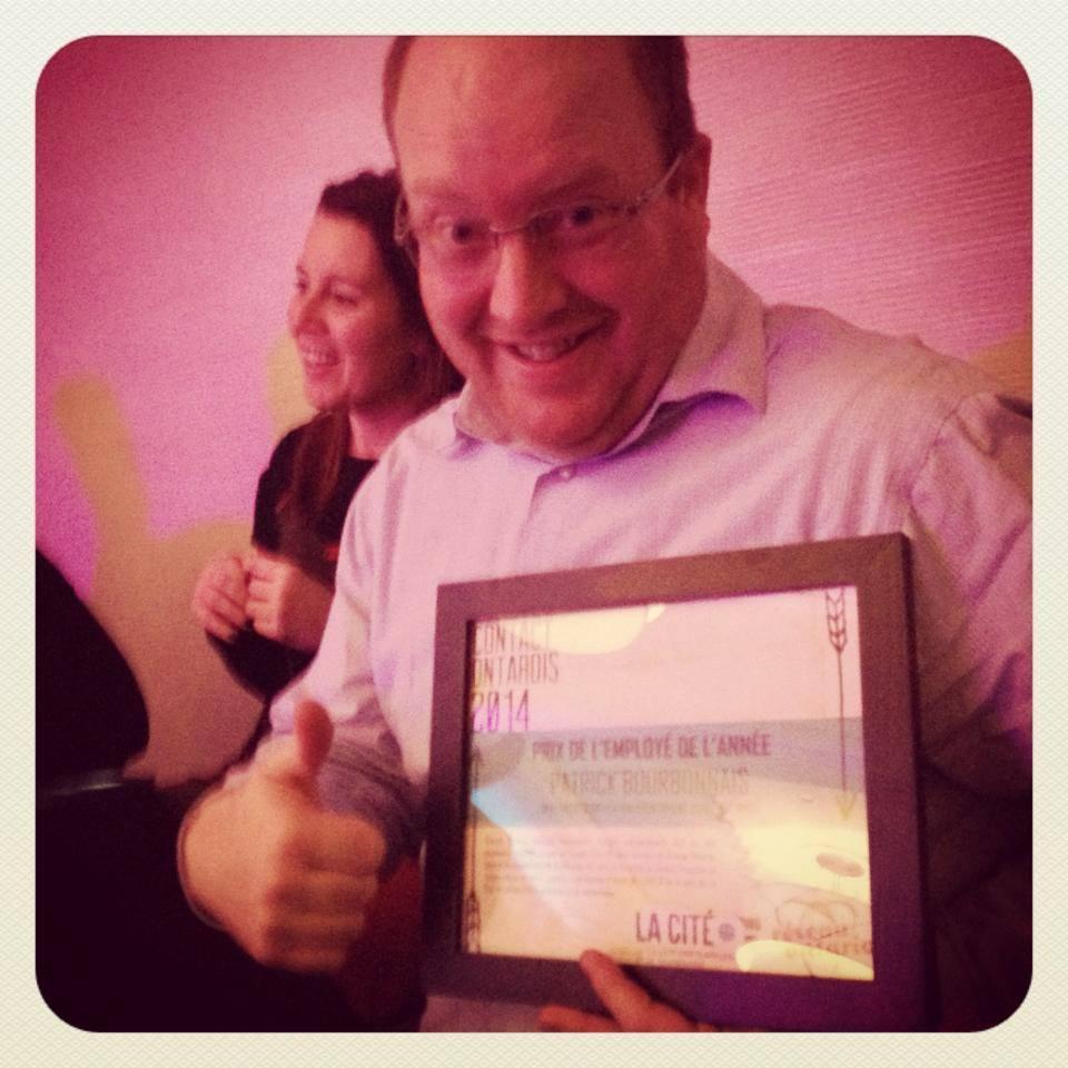 Patrick Bourbonnais, lauréat du prix Employé de l'année au sein de Réseau Ontario