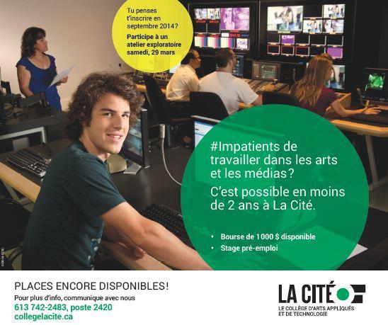 Une équipe de production télévisuelles est dans la salle de controle. Un jeune homme en avant plan. #Impatients de travailler dans les arts et les médias? C'est possible en moins de 2 ans.