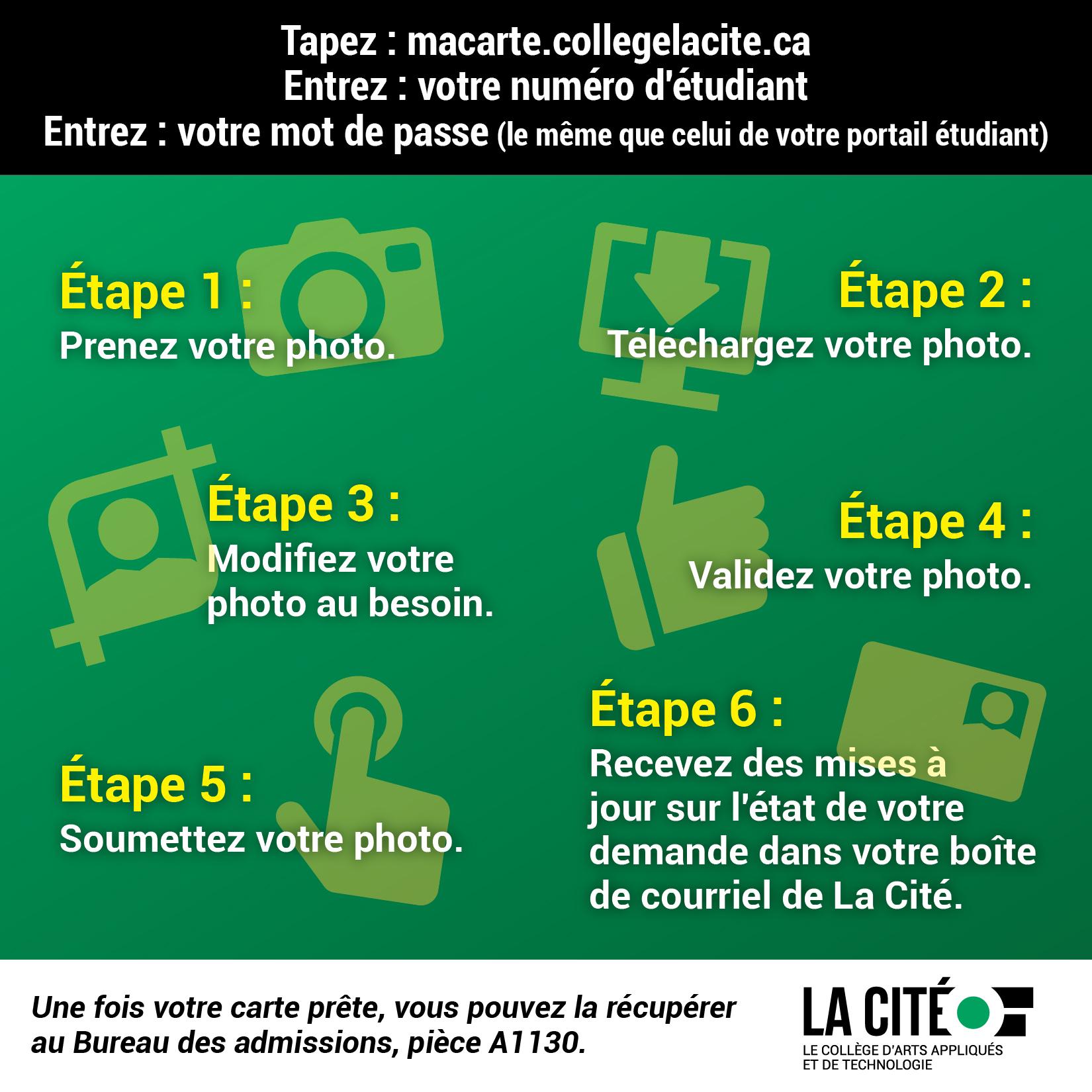 taper : macerte.collegelacite.ca, entrez votre numéro étudiant et mot de passe, prenez votre photo, téléchargez, modifiez au besoin, validez, soumetter.