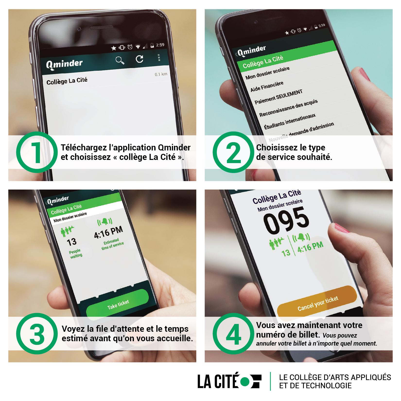 téléchargez l'application qminder et choisissez « collège La Cité »
