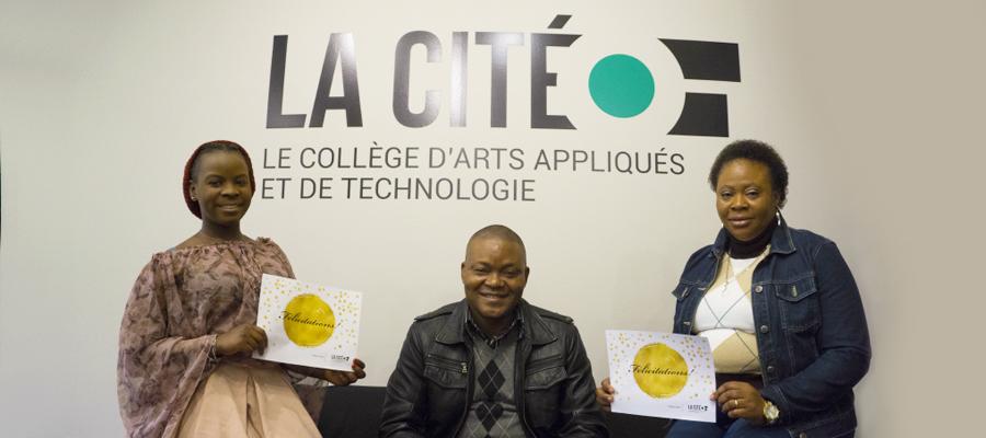Trois étudiants de La Cité à Toronto recevaient récemment une bourse d'études de la Fondation de La Cité